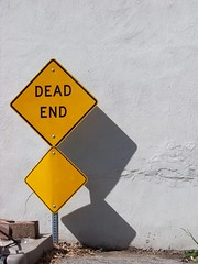 Dead end against wall (haymarketrebel) Tags: california outdoor sign wall curb