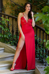 Lexy (Tony Chang photography) Tags: brownhair pretty young longhair beauty tonyphoto people portrait portraitphotography higheels outdoor girl dress reddress stair redshoes