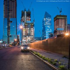 Hudson Yards (20170716-DSC07261-Edit-2) (Michael.Lee.Pics.NYC) Tags: newyork hudsonyards construction 33rdstreet 12thavenue streetscene architecture cityscape night longexposure twilight bluehour square crane sony a7rm2 zeissloxia21mmf28