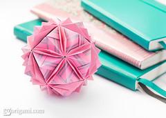 Capriccio Sonobe (Maria Sinayskaya) Tags: folded kusudama modularorigami nataliaromanenko origami origamisonobe rectangle23 wrappingpaper натальяроманенко