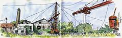 Ancienne usine sucrière de Pierrefonds (P h i l de couleur) Tags: aquarelle architecture usine encre reunion reunionisland sugar patrimoine croquis sketch watercolor