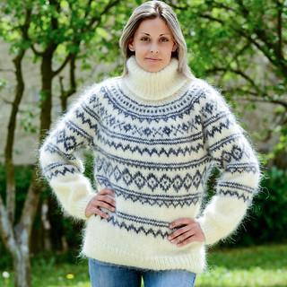icelandic-hand-knit-mohair-sweater-white-grey-fuzzy-turtleneck