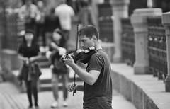 Street Violinist (Tom Mrazek) Tags: city people street urban cityscape bokeh black white man monochrome music live prague stage musician czech republic czechia violin