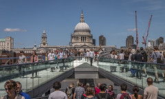Millenium Bridge view to St Pauls Cathedral (Explored 21-7-17) (Tony Smith Photo's) Tags: london summer tourists people church cathedral worship bridge riverthames skyline crowd dome whisperinggallery capital capitalcity stpaulscathedral milleniumbridge cranes rivercrossing canon eos70d explore explored