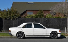 1986 Mercedes-Benz 190E (stephen trinder) Tags: stephentrinder stephentrinderphotography aotearoa christchurch christchurchnewzealand kiwi landscape nz newzealand 1986 mercedesbenz merc mercedes custom white lowered thecarsofchristchurch thecarsofchristchurchnewzealand