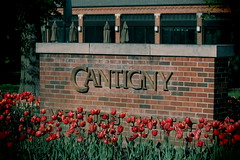 Cantigny Park, Welcome. (EOS) (Mega-Magpie) Tags: canon eos 60d nature outdoors cantigny park wheaton dupage il illinois usa america red flowers welcome sign brick