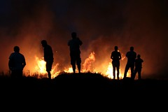 voyeur/foyer (daniel.virella) Tags: profile silhouettes fire burning sugarcane fields richardtoll senegal africa westafrica picmonkey people voyeurs