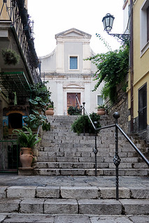 Stairs to church in Taormina, Sicily, Italy