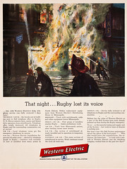 1950s Western Electric article and illustration of firefighters fighting the Bell Telephone office fire in Rugby, North Dakota - artist unknown (thstrand) Tags: events event heroic advertise ads 50s corporation corporate company advert ad advertisement advertising publicsafety firstresponders march251954 rugby north dakota nd 1950s western electric fire fires firefighter firefighters fireman firemen pierce county telephone office disaster disasters art artwork visual arts drawing rendering small town city night nighttime publication article magazine history historic historical blaze blazing blazes building danger dangerous recovery nodak bell june201955 life vol38no25 1954 1955 jacobsonsdepartmentstore jacobson