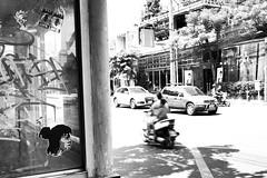 Thong Lo - Bangkok (jcbkk1956) Tags: bangkok thailand mono blackwhite street fuji xt1 xf27mmf28 bike motorcycle riders booth stickers graffiti traffic motion blur worldtrekker