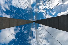 Arthur Ravenel Jr. Bridge (Ryan Jeske) Tags: arthurraveneljrbridge sc ultrawideangle bridge symmetry lines charlestonsc sky uwa canon canonefs1022mm canon70d clouds