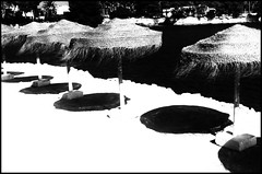IBIZA BEACH (Ageeth van Geest) Tags: bw blackandwhite black white zwart wit beach ibiza parasol