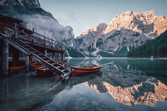 Braies Sunrise (jbhphoto21) Tags: southtyrol italy dolomites dolomiten lago di braies pragser wildsee reflections mountains lake