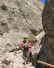 013 Susan Briesch Negotiates The Canyon (saschmitz_earthlink_net) Tags: 2017 newmexico sanjuancounty angelpeakscenicarea kutzcanyon badlands mudstone