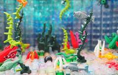An Unsuccessful Treasure Quest (Robert4168/Garmadon) Tags: lego plants vegetation water sharks octupi cannonball highwayman eslandola fish pirates scene alllego colors lime green red sand orange lavender dark blue pink purple underwater