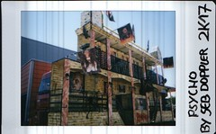 PSYCHO [ FAIRGROUND ] (EL JOKER) Tags: toulouse fairgroung fete foraine fujifilm neo classic instax mini 90 instant photo instantanee film camera camion truck 2017 el joker les allummers prod couleur color colour maison hantee haunted house walkthrough psycho france fr french south sud gimp linux creative commons cc by nc nd