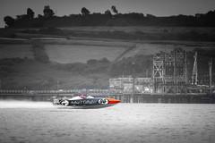 90 (garethleethomas) Tags: boat speed water colour selectivecolour coloursplash blackandwhite sea coast exciting sport