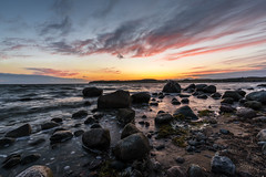 Wait For Sleep (Tim Camin) Tags: sunset summer beach sea stones sun sky clouds sonnenuntergang sommer strand see meer steine sonne himmel wolken rügen ostsee rocks felsen