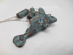Polymer Clay Pendant Ancient Bronze Fish by LynzCraftz (LynzCraftz) Tags: polymerclay pendant jewelry necklace oneofakind handmade art resin