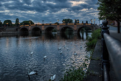 River Severn, Worcester. (drpeterrath) Tags: canon eos5dsr 5dsr landscape water river dusk birds color clouds outdoor england gb uk worcester worcestershire severn