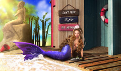 Don't feed the mermaids (meriluu17) Tags: astralia boudoir mermaid merfolk mer merqueen fish fishes dish eat feed lemon statue sand sandy outdoor sea bare water aqua shell tail sit ground wood wheel blue tropical surreal fantasy people