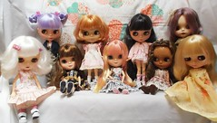 got them altogether at last  !!  ^___^ (Belladona Blythe and Friends) Tags: blythe basaak icy dolls handmade clothes