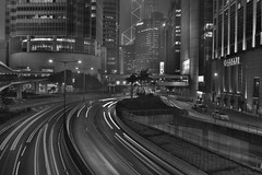 hong kong city (Greg Rohan) Tags: traillights china hongkong asia nightlights nightphotography streetphotography monochrome blackwhite blackandwhite bw photography 2017 d7200