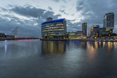 Sunset over MediaCity (andyrousephotography) Tags: salfordquays mediacityuk bbc itv bridge docks basin northbay manchestershipcanal canal sunset dusk clouds blue stillwater reflections lights illuminations andyrouse canon eos 5d mkiii ef1740mmf4l