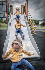The Trip Down (Wayne Cappleman (Haywain Photography)) Tags: wayne cappleman haywain photography toddler child playground playpark slide composite photoshop farnborough king george v park