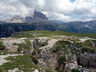 Bunkers on Monte Piana, with Cima Ovest in cloud
