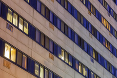 Residential Patterns (Sam Wagner Photography) Tags: close up compression pattern lines residential high rise apartment building windows jamesrheltzer manor twilight long exposure blue orange yellow city life minnesota minneapolis midwest