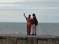 Sikh Seen Standing on South Shore Sea Wall Snapping Selfie! (j.a.sanderson) Tags: sikh standing sea wall snaps selfie seawall seaside photo photgraphy camera blackpool southshore