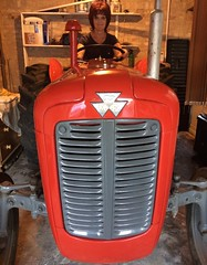 The wife having a play on a 1963 Massey Ferguson Tractor (boloveselvis) Tags: vintage tractor mf masseyferguson