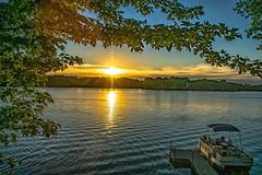 Indian Lake Sunset (Doug Wallick) Tags: indian lake maple minnesota sunset dock pontoon boat twilight rural framed wright county recreation leisure relax