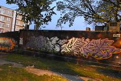 Austin - Graffiti Wall (Drriss & Marrionn) Tags: austin austintx texas usa outdoor travel streetviews street streetscene streetlife urbanjungle citytrip eastsixthibizdistrict building buildings city vivid sky nightsky nightshot evening graffiti streetart