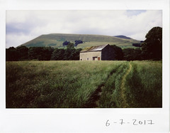 Thursday 6th July (ronet) Tags: fuji thursdaywalk barn edale field fieldpasture film instantfilm instax instax200wide kinderscout peakdistrict scanned utata