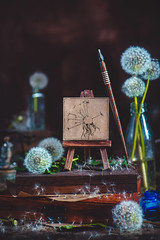 Art of Nature (I Surrender) (Dina Belenko) Tags: flower art beauty bouquet decoration retro style floral artistic color conceptual flora gardening plant vase antique vintage composition fragrance stem dandelion seed nature dark beautiful green blowball fluffy black natural fantasy flying imagination magical tender craft detail fine handcrafted prop stilllife easel painting ink drawing artist pen canvas bottle