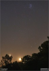 Venus, Moon, Hyades and Pleiades in the Morning (Tom Wildoner) Tags: tomwildoner leisurelyscientistcom leisurelyscientist pleiades pleiadesstarcluster hyades taurus venus planet moon moonrise crescent morning trees silhouette conjunction constellation stars space science canon canon6d tripod weatherly pennsylvania july 2017