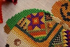 "Mr. Pumpkin Patch (GATACA1952) Tags: ""crossstitch"" embroidery floss threads decoration texture craft handmade dmc halloween spooky autumn fall holidays ""allhallow'seve"" hallowe'en harvest thegentleart wool satinstitch metallicthread kreinik"