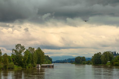 Fraser River, Fort Langley, B.C. Canada- (Photography by Julia Martin) Tags: langley britishcolumbia canada ca photographybyjuliamartin seaplane fraserriver bluemountains bigsky