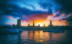 Dying Of The Sun New Version by Simon & His Camera (Parliament & Westminster) (Simon & His Camera) Tags: simonandhiscamera sky skyline sunlight sunset sun architecture building beauty city contrast colours dark evening horizon iconic light london landscape parliament river reflection tower thames urban vignette water cloud outdoor silhouette dusk blue boat yellow orange