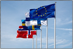 Northwards (ahmBerlin) Tags: fahnen flags north norden europa schweden dänemark norwegen finnland sweden sverige denmark norway europe skandinavien scandinavia