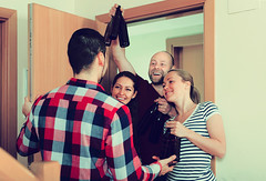 what time should guests visit (jancamilleri) Tags: russianethnicity leisureactivity portrait wellbeing women men visit doorstep temptation 2529years adult smiling laughing greeting standing holding doorway fun caucasianethnicity meeting time togetherness relaxation freedom happiness friendship vacations alcoholabuse lifestyles indoors people apartment homeinterior partysocialevent cake beeralcohol alcohol drink casualclothing clothing bottle guest girlfriend boyfriend
