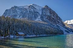 Scenic Location (Lake Louise, Canada) (peterwaller) Tags: cabin lake lakelouise canadianrockies rockymountains alberta canada water landscape mountain snow rock