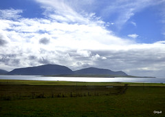 A View Of Graemsay And Hoy Islands (orquil) Tags: view outlook graemsay lowlying highhills hoy islands seaside scapaflow large natural shelteredanchorage calm blue sea wavelets whitecloud reflections wardhill cuilags silhouette nice skyline huge mixed sky many varied white clouds cloudscape bluesky foreground rural farmland grassyfields fences buildings westmainland orkney scotland uk untitedkingdom greatbritain interesting attractive great memorable