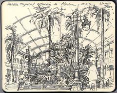 Jardín Tropical en la Estación de Atocha (f.gómezcorisco) Tags: rotulador madrid airelibre castejao urbansketchers cuaderno apunte librito dibujo boceto