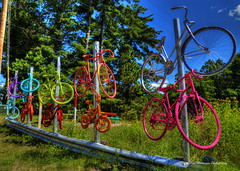 Color on Display (Tom Mortenson) Tags: wisconsin stgermain usa america northamerica midwest digital canon canon6d canoneos colorful colors sisterssaloon 24105l geotagged colours northernwisconsin vilascounty bicycles bikes highway70 stgermainwisconsin vilascountywisconsin roadsideattraction