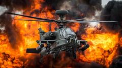 Apache doing what it does best. (flyingwingzing) Tags: apache helicopter fire fireball rotors blades smoke death destruction army flying flight aircraft riat royalinternationalairtattoo 2017 british gunship pilot ablaze firing airshow