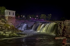 Sioux Falls - night (Notkalvin) Tags: siouxfalls waterfall falls erosion water southdakota outdoor night evening longexposure mikekline notkalvinphotography rocks building lights