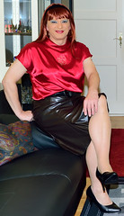 Birgit024505 (Birgit Bach) Tags: skirt rock fauxleather kunstleder top satin